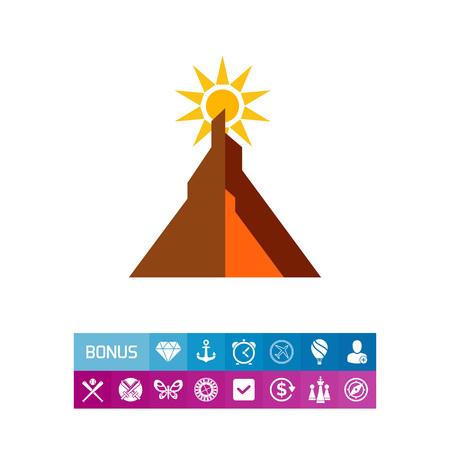 太陽が山の後ろに避けの色とりどりのベクトルのアイコン  イラスト・ベクター素材