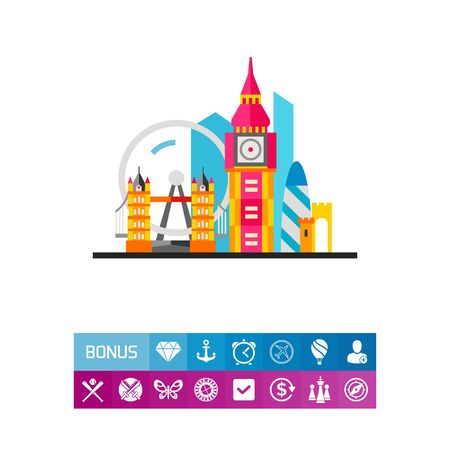 London with Tower Bridge and Big Ben Icon Illustration