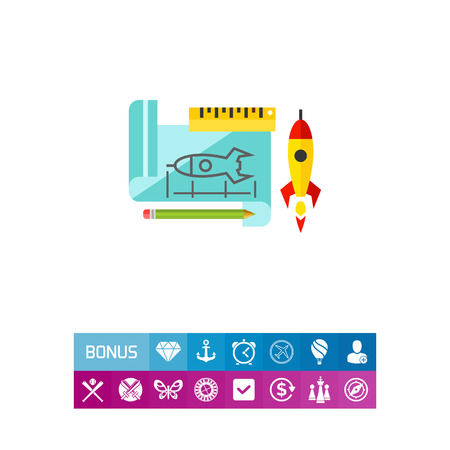 Prototype Rocket Icon Illustration