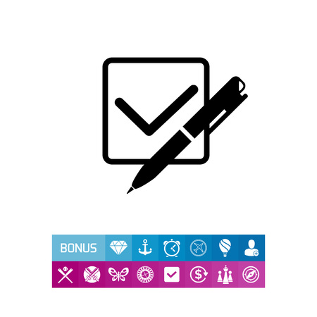 checklist: Checkmark in checkbox and pen. Study, exam, assessment, knowledge. Quiz test concept. Can be used for topics like education, teaching, training.