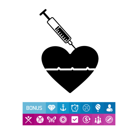 Reanimation with Adrenaline Injection Icon Illustration