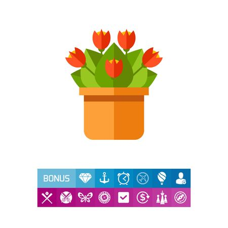 potting soil: Red potted flower icon
