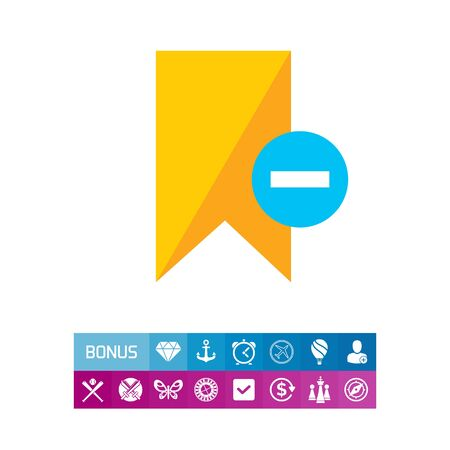 Icon of yellow tag sign with minus depicting Remove from tags Illustration
