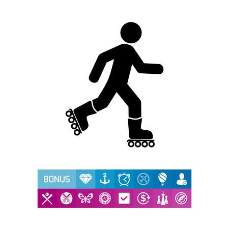 sports application: Roller Skating Man Icon Illustration