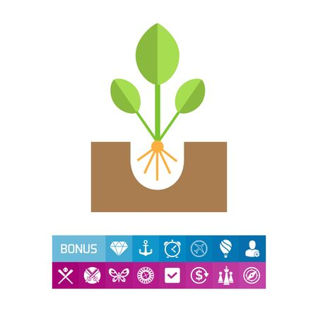 Icon of growing green sprout