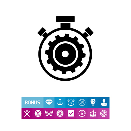 open source: Illustration of stopwatch with gear wheel inside. Processing, time, technology. Processing concept. Can be used for topics like processing, programming, technology, time