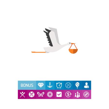 Stork carrying bundle Illustration