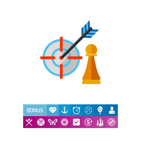 advantages: Pawn and arrow in center of target. Hitting, success, perfect. Strategy focus concept. Can be used for topics like business, management, planning, marketing. Illustration