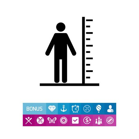 advantages: Tall Man with Scale Icon Illustration
