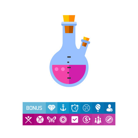 Purple substance in flask. Chemistry, experiment, pharmacy. Chemistry concept. Can be used for topics like science, chemistry, laboratory experiment Illustration