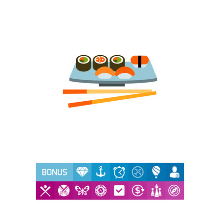 Multicolored vector icon of sushi set served on special plate with chopsticks