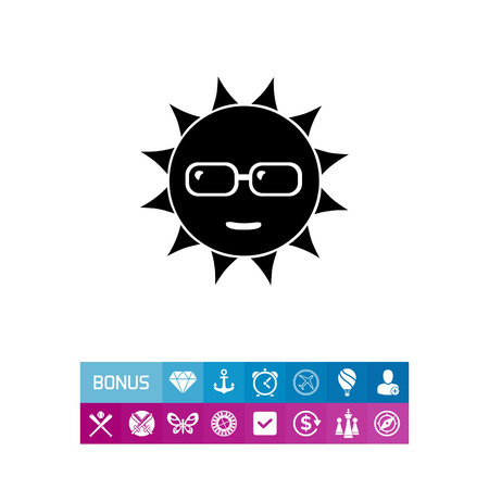 to spend the summer: Smiling sun in sunglasses. Summer, beach, face. Heat concept. Can be used for topics like tourism, weather, nature. Illustration