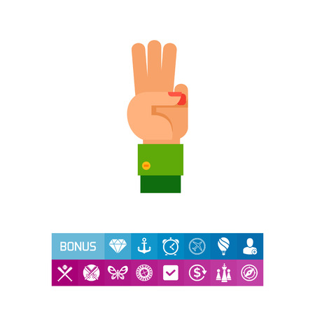 Three Fingers Up Icon Illustration