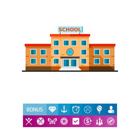 edifice: Three-storied School Building Icon Illustration