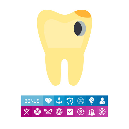 Tooth with Hole as Caries Concept Icon