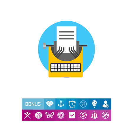 Illustration of yellow typewriter and paper sheet. Blogging, writing, content management. Blogging concept. Can be used for topics like social media, content management, writing