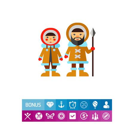 Deux Esquimaux Icône Banque d'images - 82694424