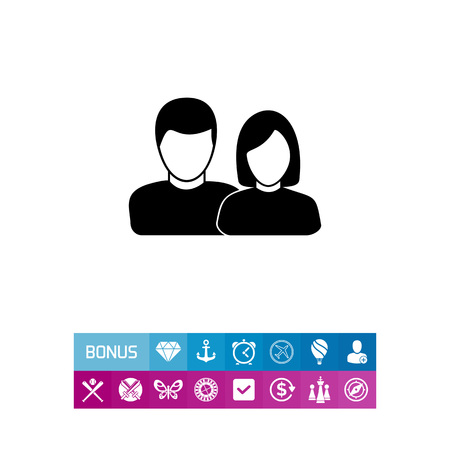 Vector icon of man and woman representing users Illustration
