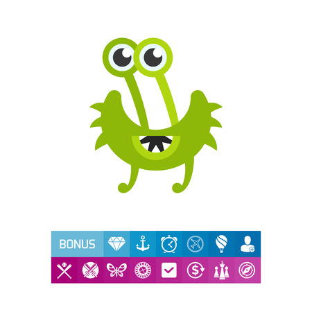 Virus cartoon character flat icon. Multicolored vector illustration of strange bacterium with five eyes
