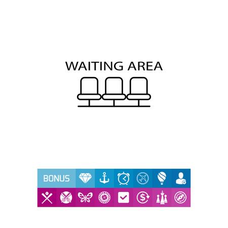 Icona di attesa dell & # 39 ; area di segno con la fila di sedie vuote