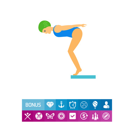 swimming cap: Woman jumping off diving board. Water, professional, pool. Water jumping concept. Can be used for topics like sport, health, competitions.