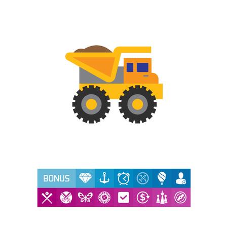 Yellow loaded dump truck
