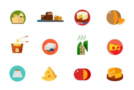 Cheese food icon set Illustration