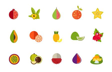 Exotic fruit icon set Illustration
