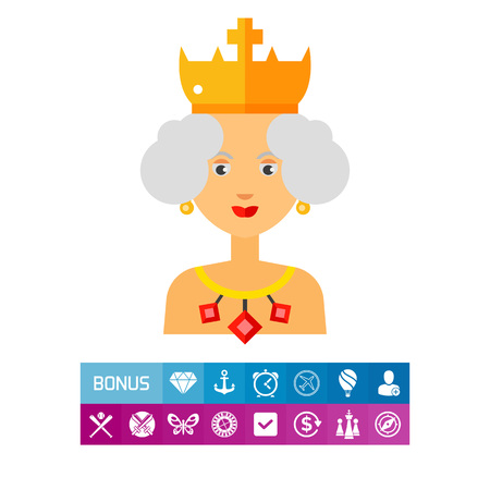 Queen Wearing Crown and Jewels Icon Illustration