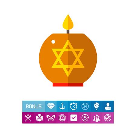 Star of David Candle Icon Illustration