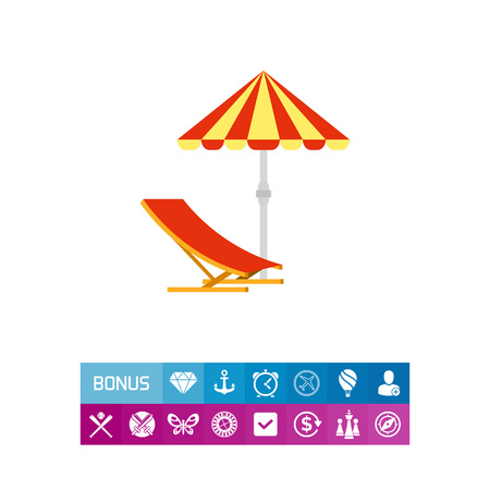 Sun Umbrella and Deck Chair Icon Illustration