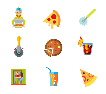 Pizza icon set. Delivery Margarita Pizza cutters Portion Ordering food Pizza slice. Contains bonus icons of Cuba libre drink and Soda glass