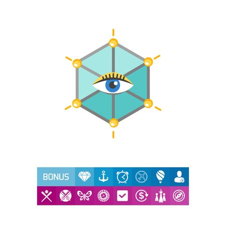 tracking: Icon of human eye in hexagon