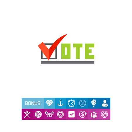 Vote inscription with tick sign. Choice, candidate, election. Vote concept. Can be used for topics like politics, democracy, sociology. Иллюстрация