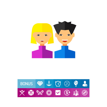 Multicolored vector icon of young man and woman representing users Illustration