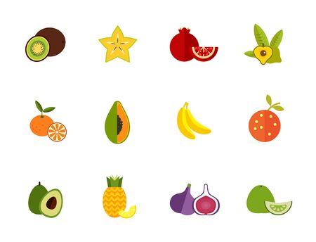 Seasonal fruit icon set. Kiwi Carambola Pomegranate Lucuma Tangerine Papaya Banana Orange Avocado Pineapple Fig Pomelo