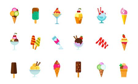 Sweet food icon set. Cream in waffle cone Chock-ice Ice-cream in glass bowl Cupcake with cherry Strawberry dessert Ice-cream on stick Cream can Caramel sauce Vanilla dessert Chock-ice with nuts Illustration
