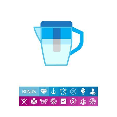 Icono del vector del agua azul jarra de filtro Foto de archivo - 82894355