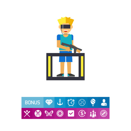 VR gaming flat icon Illustration