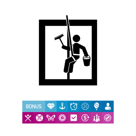 dangerous man: Washing window as Cleaning Concept Icon Illustration
