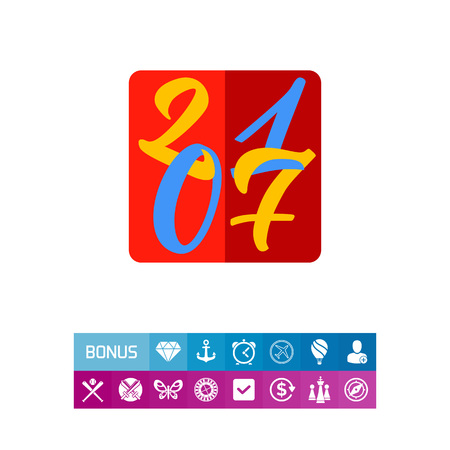 2017 in Square Icon Illustration