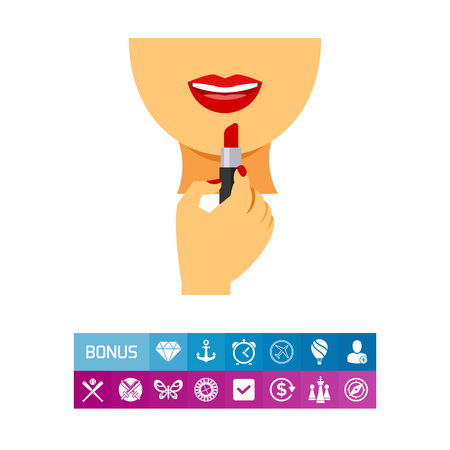 Applying  lipstick on lips icon Illustration