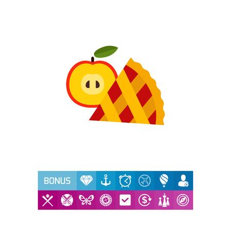Tranche de tarte aux pommes avec icône de fruit Banque d'images - 83032660