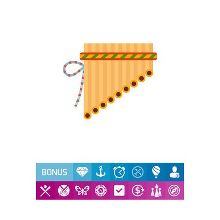Icono de antara panpipe. Sikuri, tubo, instrumento musical. Concepto de la música. Vectores