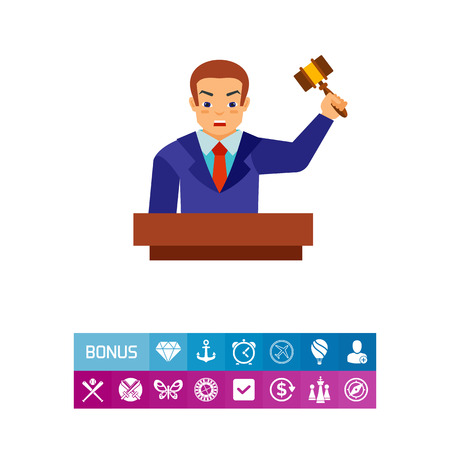 A Vector icon of auctioneer holding gavel. Competition, bidding, selling. Auction concept. Can be used for topics like commerce, trade, marketing illustration. Illustration