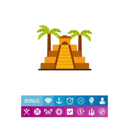 Icon of Aztec pyramid with palms. Aztec civilization, ziggurat, Mesopotamian architecture. Civilization concept.