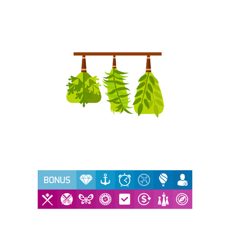 Background with bunches of dried herbs hanging on shelf. Spices, seasoning, ingredient. Herbs concept. Can be used for topics like herbal medicine, cooking, plants