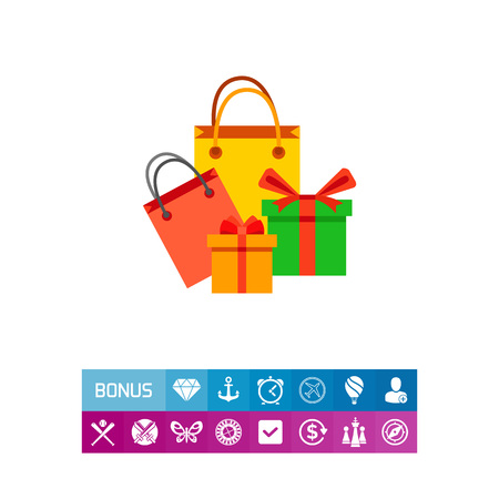 A Vector icon of paper bags and gift boxes as holiday shopping. Purchase, shopaholic, holiday sale. Sales concept. Can be used for topics like consumerism, shopping, holiday Illustration