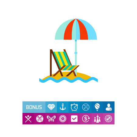 recliner: A Vector icon of beach umbrella and lounge chair at sea. Seaside, beach, resort. Vacation concept. Can be used for topics like summer, travel, tourism