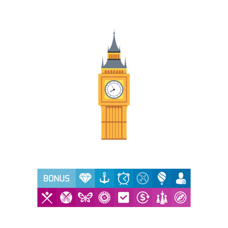 Icon of Big Ben tower illustration. Illustration